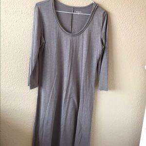 Garnet Hill gray knit tunic dress cotton modal XS